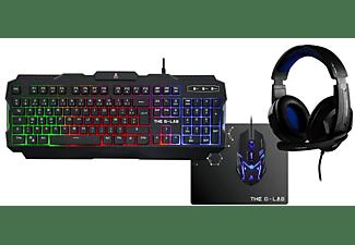 Teclado Gaming - The G-Lab Combo Teclado + Raton Retroiluminados+Auricular+Al