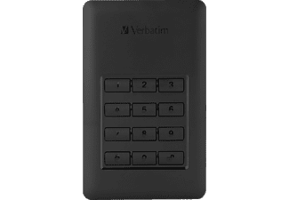 VERBATIM 53403 Secure Portable Festplatte, 2 TB HDD, 2,5 Zoll, extern, Schwarz/Silber