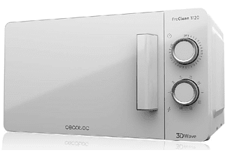 Microondas - Cecotec Proclean 3120, Con grill, 700 W, 20 L, 6 potencias, Descongela, Blanco