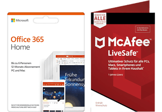 Office 365 Home 6 Benutzer 1 Jahr + McAfee LiveSafe Device Attach (Code in a Box)