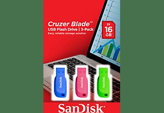 SANDISK Cruzer Blade™ 3er Pack USB-Stick (Blau/Pink/Grün, 16 GB)