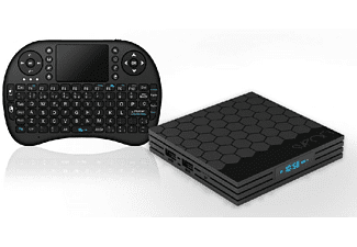 Android TV Box -Sveon SSL6000, Con Teclado Wireless, Compatible con Movistar+ Netflix, Negro