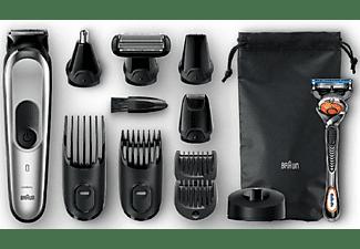 Afeitadora multifunción - Braun MGK7020, 10 en 1, 8 accesorios, Con Gillette, 13 longitudes