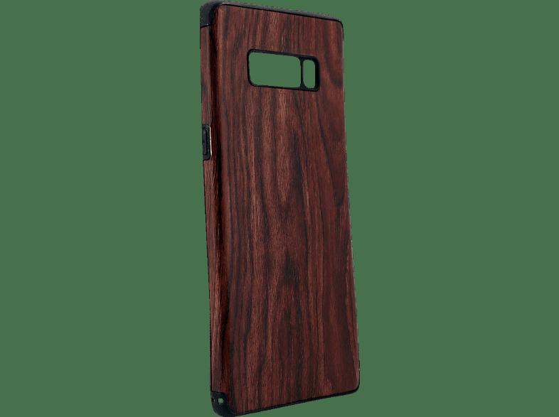 AGM 26979 Holz , Backcover, Samsung, Galaxy Note 8, Thermoplastisches Polyurethan, Kunststoff, Braun/Schwarz