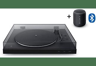 SONY PS-LX310BT + SRS-XB12 Bluetooth Plattenspieler und Lautsprecher Schwarz