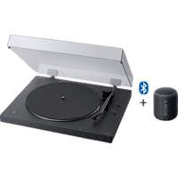 SONY PS-LX310BT + SRS-XB12 Bluetooth Plattenspieler und Lautsprecher (Schwarz)