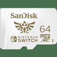 SANDISK microSDXC UHS-I Speicherkarte für Nintendo Switch, 64 GB, Speicherkarte, Weiß