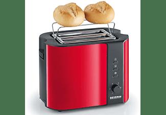 SEVERIN AT 2217 Toaster Schwarz/Rot/Metallic (800 Watt, Schlitze: 2)