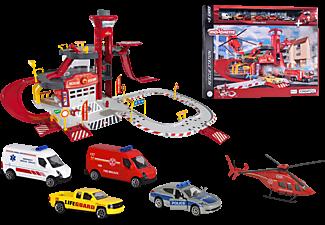MAJORETTE Creatix Rescue Station + 5 Fahrzeuge Spielset mit Zubehör Mehrfarbig
