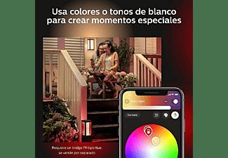 Aplique inteligente - Philips Hue Econic, Cuadrado, LED exterior, Luz blanca y de colores, Domótica