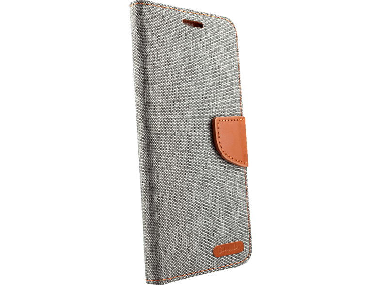 AGM 27298 Fashion , Bookcover, Apple, iPhone XS Max, Obermaterial Kunstleder, Stoff, Thermoplastisches Polyurethan, Grau/Braun