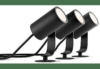 Foco - Philips Hue Lily, 3 Focos, Inteligentes, Exterior, LED, Luz blanca y color, Domótica