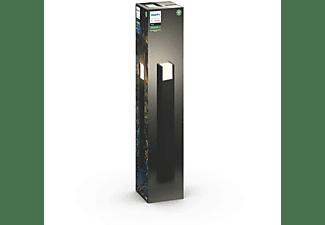 Poste / Columna exterior inteligente - Philips Hue Fuzo, Luz blanca cálida regulable, LED, Negro