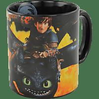 DREAMWORKS Dragons Ohnezahn & Hicks Flammen Motiv Tasse 320ml, schwarz Tasse, Mehrfarbig