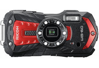 Cámara compacta acuática - Ricoh WG-60, 16 MP, Vídeo Full HD, Sumergible hasta 14 m, Rojo