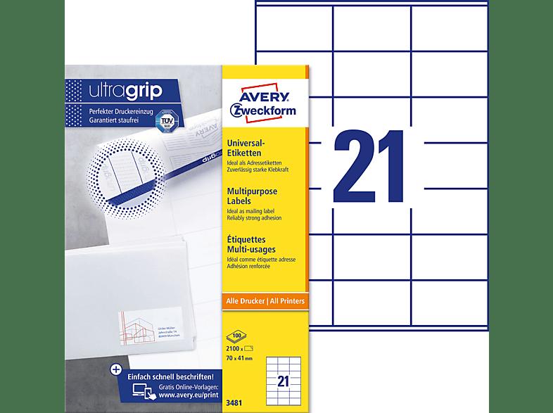 AVERY Zweckform Universal Etiketten 70 x 41 mm weiß 2.100 Etiketten