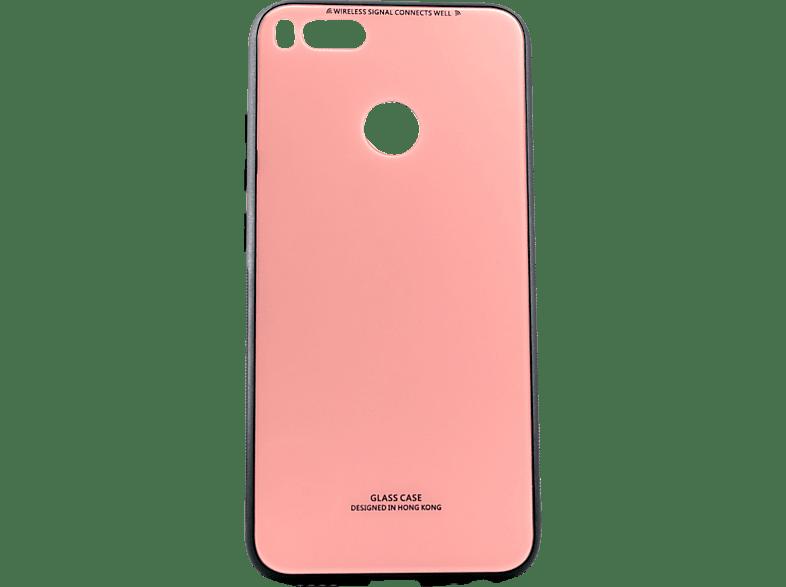 AGM 28263 Backcover Xiaomi Mi A1 Echt Glas, Thermoplastisches Polyurethan Pink/Schwarz