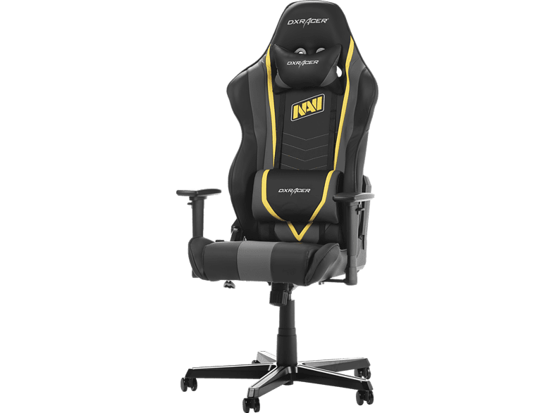 DXRACER Racing R60 Gaming Chair Natus Vincere (NAVI) 2.0 Edition Gaming Stuhl, Schwarz/Grau/Gelb