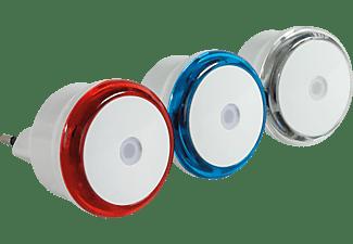 REV 3er Set LED Nachtlichter, Rot/Weiß, Blau/Weiß, Transparent/Weiß