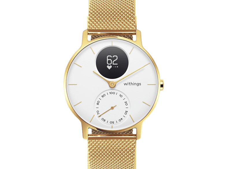 WITHINGS Steel HR Limited Edition, Smartwatch, 200 mm, Champagner Gold/Weiß