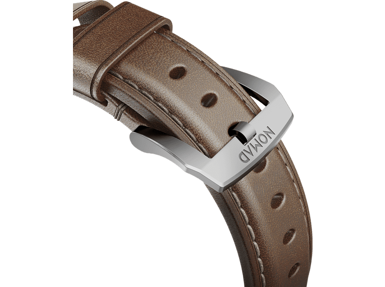NOMAD Nomad Strap Traditional Leather Brown Connector Silver 42mm, Ersatzarmband, Apple, Apple Watch Sport, Apple Watch und Apple Watch Edition, Apple Watch Serien 1, 2, 3 und 4, braun / silber