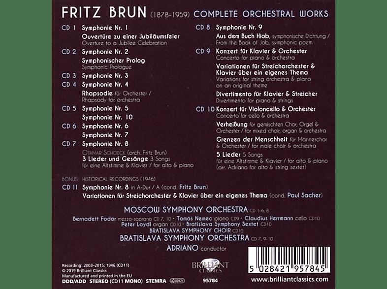 VARIOUS, Moscow  Symphony Orchestra, Bratislava Symphony Orchestra - Fritz Brun:Complete Orchestral Works [CD]