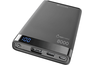 CELLULARLINE Powerbank Freepower Manta S 8000 mAh Zwart (FREEPMANTA8USBCK)