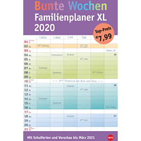 ATHESIA BUNTE WOCHEN FAMPLAN XL Kalender, Mehrfarbig