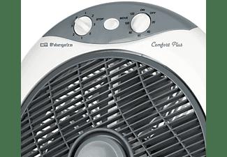Ventilador de sobremesa - Orbegozo BF1030, Box fan, 30 cm, 6 aspas, Temporizador, Potencia 45W, Blanco