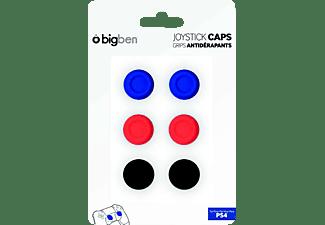 BIGBEN PlayStation 4 Controller, Thumb Grips, Rot/Schwarz/Blau