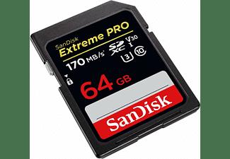 Tarjeta SDXC - SanDisk Extreme PRO, 64 GB, 170 MB/s, UHS-I, U3, V30, Clase 10, 4K UHD y FHD, Negro