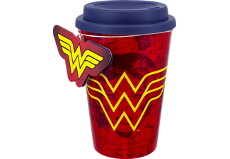 PALADONE PRODUCTS Wonder Woman Reisebecher - rot ToGo Becher, Mehrfarbig