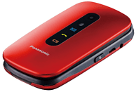 "Móvil - Panasonic KX-TU456, Para mayores, 2.4"", Botón SOS, Resistente Golpes, Compatible Audífonos, Rojo"