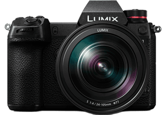 PANASONIC Lumix DC-S1 Systemkamera mit Objektiv Lumix S 24-105mm 4.0 Macro OIS, schwarz (DC-S1ME-K)