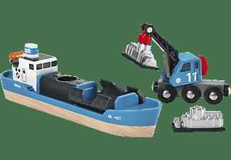 BRIO Containerschiff mit Kranwagen Containerschiff, Mehrfarbig