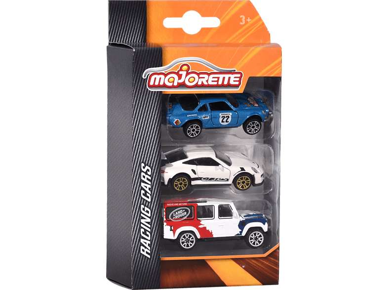 MAJORETTE Racing 3 Pcs. Set, 3-sort. Spielzeugauto, Mehrfarbig