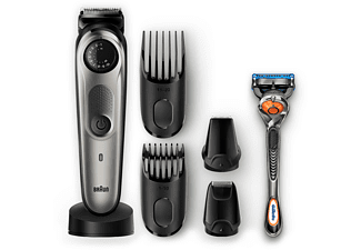 Barbero - Recortadora de barba BT7040: dial de precisión, 4 extras, Gillette Fusion5 ProGlide