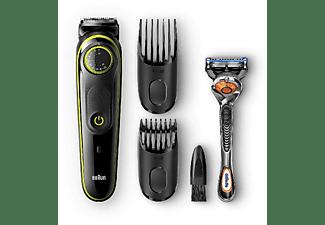 Barbero - Braun BT5042 - 2 Peines y maquinilla Gillette Fusion5 ProGlide, LED, Negro/Verde