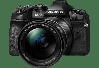 OLYMPUS OM-D E-M1 Mark II Kit Systemkamera mit Objektiv 12-200 mm F3.5 (Weitwinkel) / F6.3 (Tele), 7,6 cm Display Touchscreen, WLAN