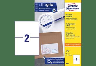 Avery Zweckform Universal Etiketten Ultragrip 210 X 148 Mm 100 Bogen 200 Etiketten Weiß 3655