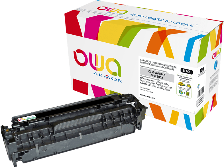 OWA Toner K15132OW ersetzt HP CC530A & Canon (2662B002) 718BK Tonerkartusche Schwarz