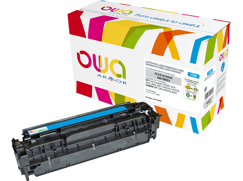 OWA Toner K15133OW ersetzt HP CC531A & Canon (2661B002) 718C Tonerkartusche Cyan
