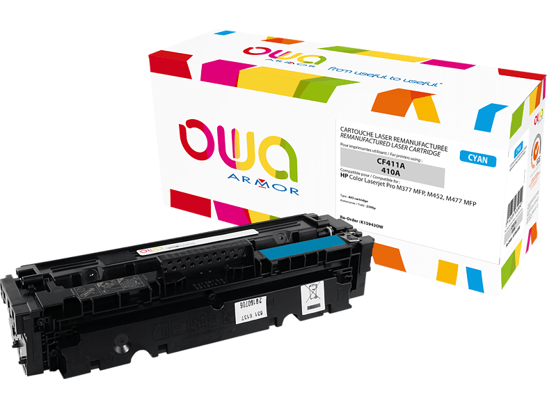 OWA Toner K15943OW ersetzt HP CF411A / 410A Tonerkartusche Cyan