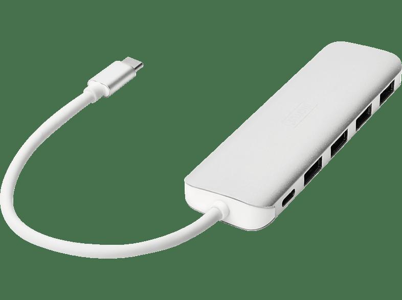 DIGITUS DA-70242-1 USB Type-C™ 4-Port Hub (USB 3.0) + PD, USB-Hub, Silber