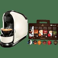 TCHIBO CAFISSIMO Pure + 60 Kapseln (Espresso, Tee, Filterkaffee, Caffè Crema) Kapselmaschine Weiß