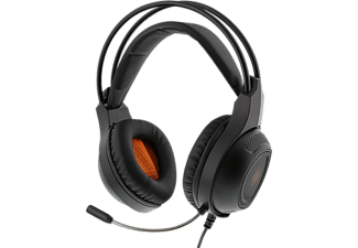 DELTACO GAMING Stereoheadset med Orange LED - Svart