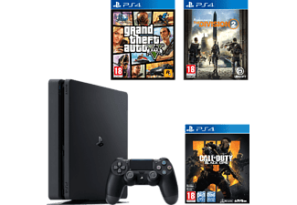PLAYSTATION PS4 Slim 500 GB Zwart (9407577) + GTA V + Division 2  +  Call Of Duty: Black Ops 4 NL/UK
