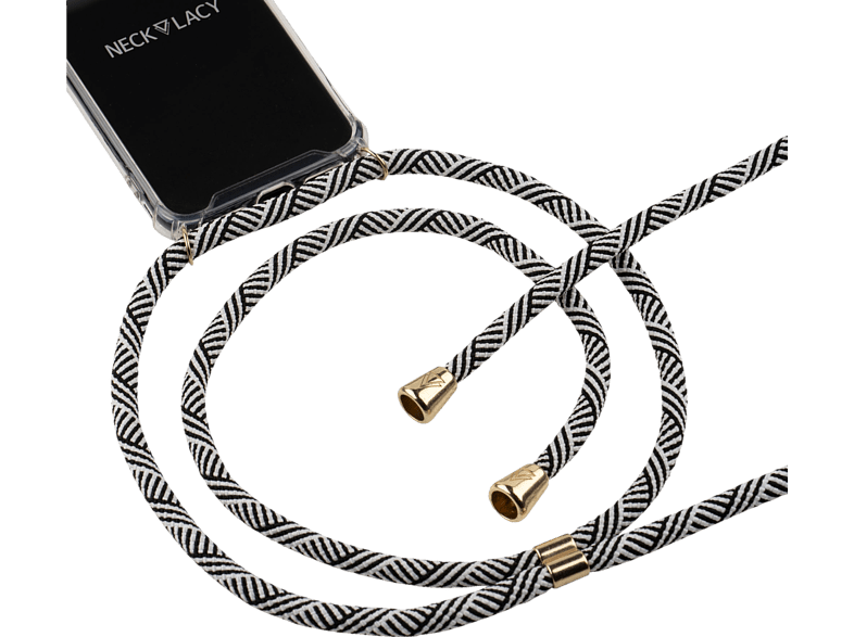 NECKLACY Necklace Case Domino Swirl , Backcover, Huawei, P30 Lite, Thermoplastisches Polyurethan, Weiß/Transparent