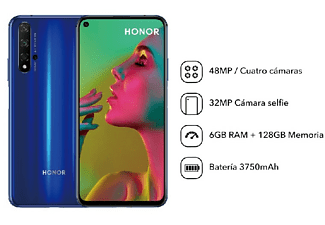 "Móvil - Honor 20, Azul, 128 GB, 6 GB RAM, 6.26"" Full HD+, Kirin 980, Cuatro Cámaras AI 48MP, 3750 mAh, Android"