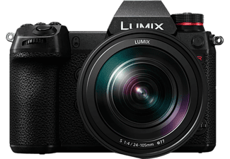 PANASONIC Lumix DC-S1R Kit Systemkamera 47.3 Megapixel mit Objektiv 24-105 mm f/4.0, 8 cm Display Touchscreen, WLAN